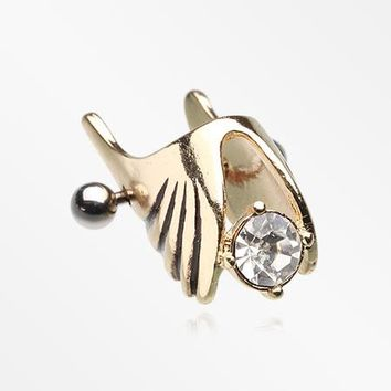 Golden Angelic Ornate Wing Cartilage Ear Cuff