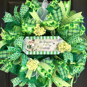 St.  Patrick's day wreath, St. Patrick's Day deco mesh wreath, St. Patricks Wreath, St. Patrick's Day mesh wreath, fromt door wreath
