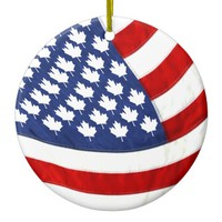 Canadian / American Waving Flag Ceramic Ornament