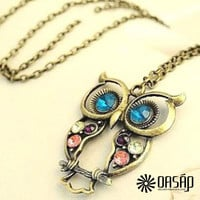 Antique Cutout Owl Pattern Necklace 4PCS One Set
