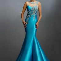Long Evening Dress 2017 New Arrival Formal Blue Party Elegant Sheer Neck Back Mermaid Beaded Sweep Train Sleeveless UM024
