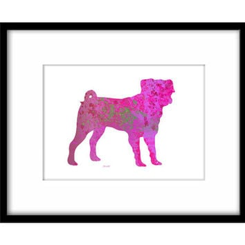 Pink Pug Printable Poster, Colourful Dog Art Instant Download, Splatter Art, Dog Owners Wall Art