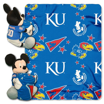 Kansas Jayhawks NCAA Mickey Mouse with Throw Combo
