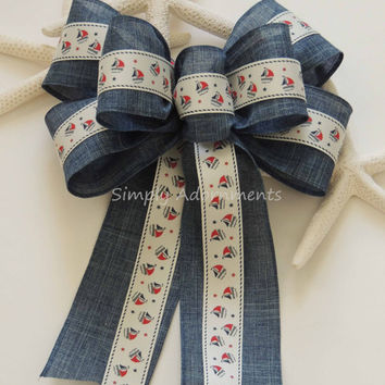 Rustic Nautical SailBoat Bow Nautical Baby Shower Decor Nautical SailBoat Birthday Party Decoration Nautical SailBoat Gift Wrap Bow