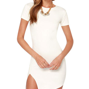 White Short Sleeve Asymmetrical Slit Mini Dress With Back Zipper