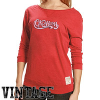 Original Retro Brand Oklahoma Sooners Ladies Crimson 3/4 Sleeve Scoop Neck Vintage Premium T-shirt