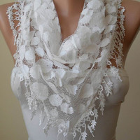 New - Lace Scarf  in White - Polka Dots Tulle Fabric with White Trim Edge - Triangle ---Trendy.