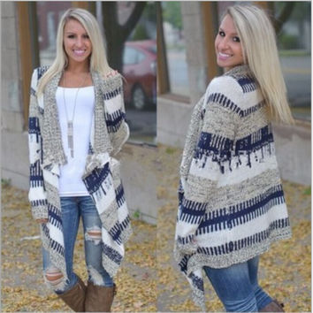 Color irregular long sleeve knitted cardigan