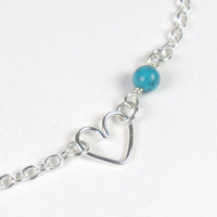 Natural Turquoise Heart Anklet in Sterling by PuranaJewellery