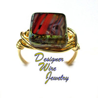 DWJ0294 Czech Glass Red Sierra Picasso Gold Wire Wrapped Ring All Sizes