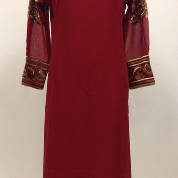 Thread Work Embroidery Kurta - Maroon