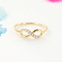 Simple Gold Infinity Ring with Clear Crystals