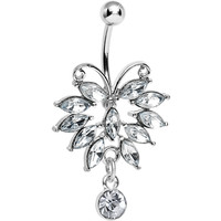 Clear Gem Majestic Big Bug Dangle Belly Ring | Body Candy Body Jewelry