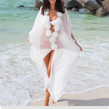 Honeymoon Dress Beach Cover up Dress Lace Beach Tunic Pareos Swimwear Women 2018 Bikini cover up Chiffon Swimsuit Cover up