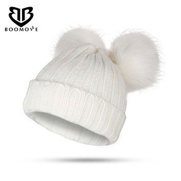 BOOMOVE Fashion Winter Warm Women Knitted Wool Hat Solid Color Warm Cap Fur Ball Winter Hat Knitted Pom Pom Cap Kids Beanie Hat