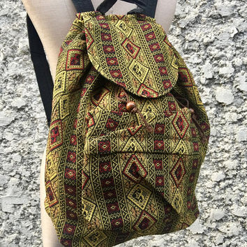 Ethnic Tribal Boho Backpack Festival Travel School backpack Hippie Woven Aztec Style Native Vegan Rucksack bag Gift for Men women Travel