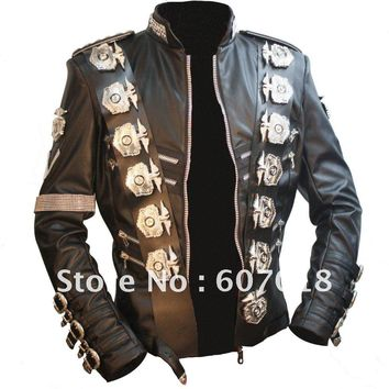 MJ michael jackson BAD tour Jacket in japan PU Leather Stainless Steel eagle Punk 100% Casual Outwear proformance show