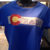 Colorado Flag Colors T-Shirt with Rockies Avalanche Denver  Broncos Nuggets Sport Fan tee for women sexy sparkle glitter