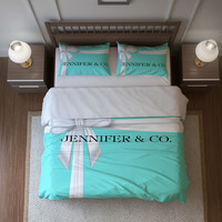 Tiffany Blue Box Personalized Duvet Cover or Comforter Set