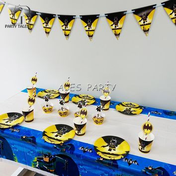 Batman Dark Knight gift Christmas Party supplies 42pcs for 8kids  Batman theme birthday party tableware set, plate+cup+straw+tablecover+banner+wrapper+topper AT_71_6