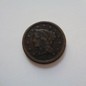 1850 Braided Hair Penny Large Cent Great American Collectible from the 1800s US Coin for Sale Fine Grade + Wonderful Antique Excellent Gift