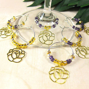 Purple, Silver and Gold Wine Glass Charms with Lacy Roses, Set of 6, Dining and Entertaining, Bar Accessories, Housewarming, Hostess Gift