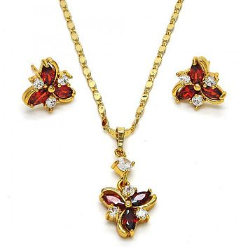 Gold Layered 10.283.0009 Necklace and Earring, Flower Design, with Garnet and White Cubic Zirconia, Polished Finish, Golden Tone