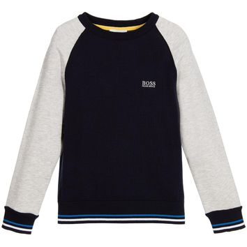 Hugo Boss Boys Navy and Light Knitted Sweater