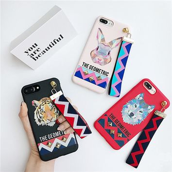 Lovers 3D luxury brand Animal design Tiger Rabbit wolf Stud Rivet Wrist Strap Case for iPhone 8 7 6 6S PLus 7  Soft TPU cover