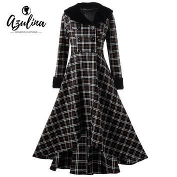 AZULINA Plus Size Winter Coat Women Ladies Tops Double Breasted Plaid Swing Long Slim Casual Button Wool Coats Womens Outerwear