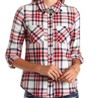 Long Sleeve Plaid Flannel Button-Up Top - Ivory Combo