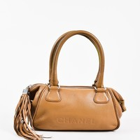 "Chanel Brown Grained Leather Embossed Logo ""Lax"" Tassel Shoulder Bag"