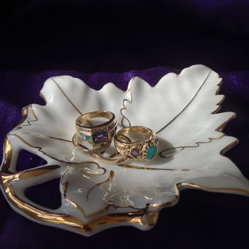 J a C France Leaf Dish, Grape Leaf, Butter Pat, Trinket, White Porcelain, Gold Veining Details
