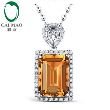 CAIMAO Emerald Cut 3.15ct Citrine & 0.20ct Diamond Accented Gold Pendant Necklace for Women