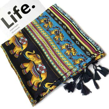 Thai ethnic wind female elephants cotton and linen tassel scarf