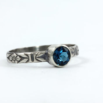 London Blue Topaz Sweetheart Ring - Sterling Silver & Natural Gemstone - Promise Ring - Made to Order in Your Size