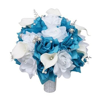 "10"" Wedding Bouquet-Malibu White Silver"