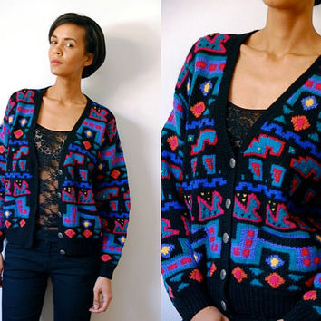 Vtg Neon Colorful Bold Print Wool Knit Button Down Sweater w Pockets