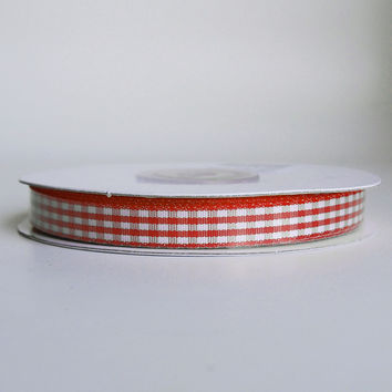 Gingham Checkered Ribbon, 3/8-inch, 25-yard, Red