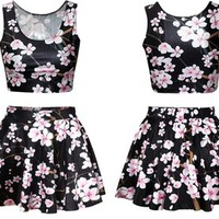 Ninimour- Digital Print Reversible Crop Top + Skirt 2 Pieces Vintage Clubwear (black sakura)