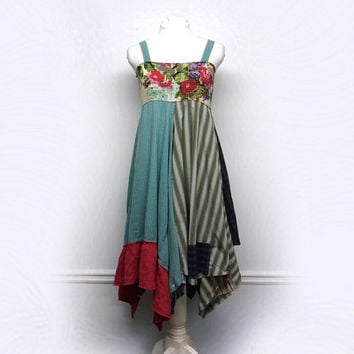 Festival Clothing, Funky Clothing, Bohemian Dress, Boho Chic Sundress, Hippie Clothing, Sustainable Clothing, Upcycled Clothing for Women