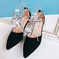 Dior New Popular Women Letter Bandage Pointed Sandals High Heels Black I13483-1