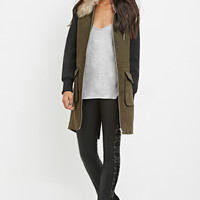 Faux Fur Colorblocked Coat