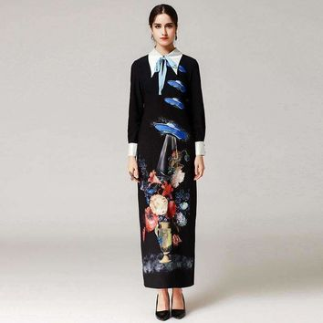 ufo bow turn down collar  runway maxi dress womens long sleeve party floral printed casual long straight dress