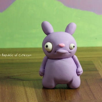 Lavender Bunny Sculpture - Cute Polymer Clay Figurine - Offbeat Desk Toy - Fun Home or Office Decor