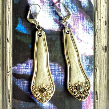 Handmade silver spoon earrings with grey crystals