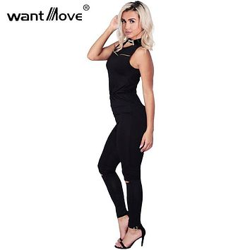 new fashion cut out rompers womens black sexy jumpsuit 2017 summer women one piece jumpsuit sleeveless zipper bodysuit XD811