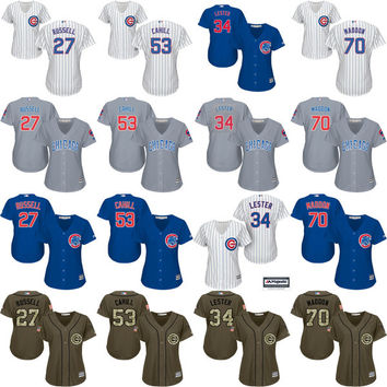 2016 World Series Champions patch women 27 Addison Russell 34 Lester 53 Trevor Cahill 70 Joe Maddon Chicago Cubs Baseball Jersey stitched