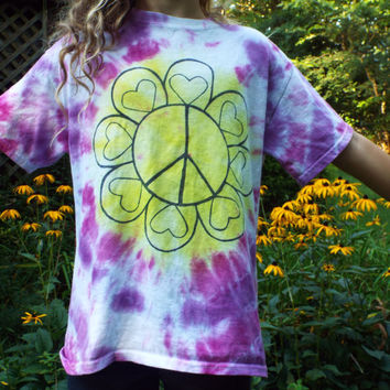 Peace Heart Girls Shirt, Kids M, Girls Tie Dye Peace Sign Tshirt, Flower Child, Girls Flower Shirt, Peace Tshirt, Hippie Girls Clothes