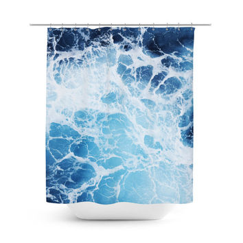 Blue Ocean Surf 3 - Shower Curtain, Nautical Style Vanity Bathroom Accent, Beach Surf Decor Hanging Bath Tub Curtain Coastal Backdrop. 71x74